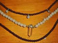 ALL NATURAL THREE LAYERS OF BEADED STONES GARNET and
