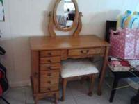 Oak Vanity Armour with mirror and stool-contact