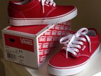 VANS Chili Pepper/White Canvas Women's Canvas Sneakers,