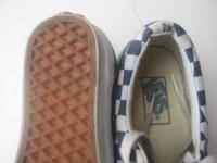 Blue with blue and white checker pattern vans size US