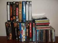 VARIETY OF CDS (MOSTLY COUNTRY),VHS MOVIES AND