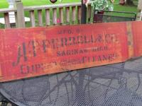 OLD WOOD ADVERTISING SIGN FROM GRAIN CLEANER $75, OLD