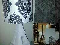 For sale is: White Eiffel Tower Lamp w/ Damask