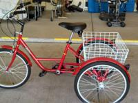 "Adult Velor trike, 24"" 6-Speed with Shimano derailleur."