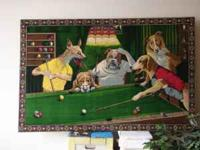 Velvet painting of dogs playing pool for sale $100.00.