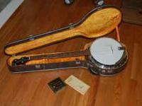 Early 1970's Ventura Banjo. 5-string with inlay, strap,