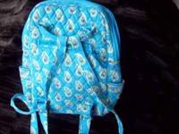 "Vera Bradley Backpack Turquoise & Paisley 13"" x 12"""