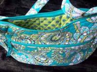 "Vera Bradley Pocketbook Blue/Green 13"" x 7"" Barley"