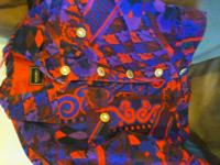 Multi color midnight purple ,red,blue with gold buttons