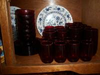 Very Beautiful - 1930's Red Ruby Dinnerware Glass Set.