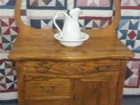 For Sale: Very Nice Antique Oak commode with towel