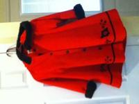 GIRLS RED AND BLACK WINTER DRESS COAT WITH BLACK FUR