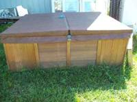 Hot tub 7 x 7. Very nice shape for the age. Needs motor