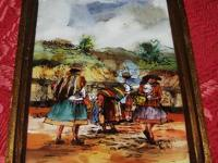 This is a very old antique reverse folk art painting on
