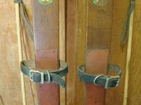 Antique 7' Maple Northland Skis & Poles. Skis are