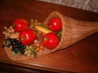 Very Old Wicker Harvest Horn of Plenty Fruit