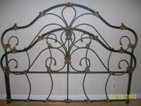 Victorian Ornate, King Size, Iron Bed. Finished in