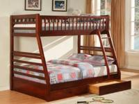 Brand New-- Beautiful cherry bunk beds twin over full