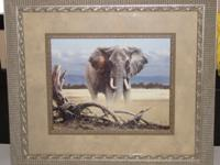 "Large Framed Elephant Picture   33"" L  x 30"" H  In"