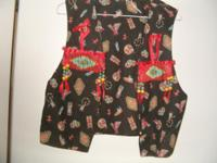 VEST. BLACK WITH INDIAN DESIGNS ON COTTON HAS RED