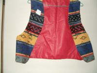 VEST RED WITH DECORATED FRONT AND BACK. COTTON WESTERN