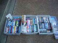 90 vhs tapes...adventure, comedy some children....Also