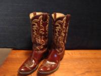 Authentic JUSTIN Boots real Natural leather Vintage