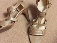 Via Spiga gently used sandals with 3 inch Stacked heel.