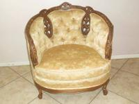 Victorian Style Parlor Chair. Done in cream & peach