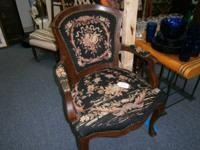 Antique Victorian arm chair with original needlepoint