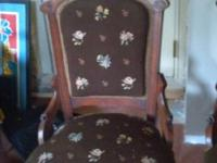 Beautiful needlepoint embroidered Victorian chairs. One
