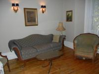 Duncan Phyfe style sofa, two armchairs, two tables in