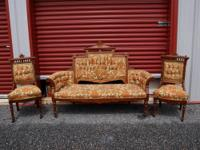 Antique Victorian Parlor Set consists of couch and 2