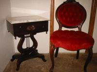 A Lovely set of victorian style marble top mahogany