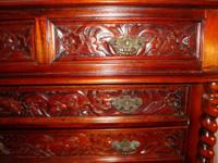 Victorian style vintage antique carved chest of drawers