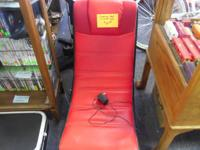 Red and black folding video gaming chair rocker with