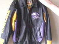Size Large leather Vikings jacket for sale. Worn about