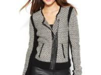 Soft meets hard on Vince Camuto's edgy cardigan,