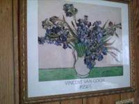 "Vincent Van Gogh's ""Irises"" Framed & Enclosed in Glass"
