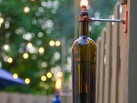 Beautiful patio area lights made from recycled bottle.