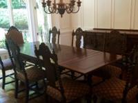 Hand carved 10 piece dining room set includes: table,