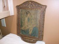 Vintage 1920's Lithograph Print on Wood Plaster Frame