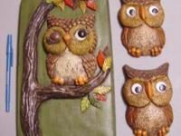 Vintage 1950-60's Set of 3 Owl Chalkware Wall Hanging