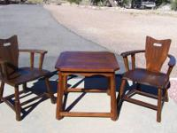 Vintage 1950's Brandt Ranch Oak Arm Chairs & Matching