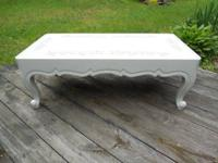 Vintage 1950's Walnut coffee table hand painted country