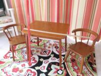 Vintage 1950s Maple Child's Table and 2 Chairs Very