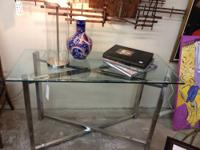 Vintage 1970's Chrome with Glass Top Sofa Table 45""