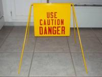 Vintage 1970's Metal Sign with Stand. One side- Wet