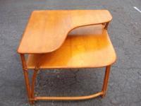 "Vintage 1970'S Round Pedestal Butcher Block Table - 2"""