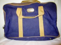 Vintage Wings canvas blue and beige suitcase,